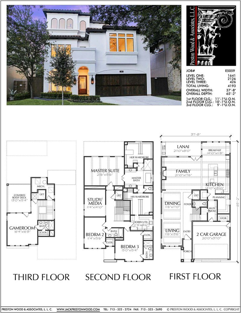 2 1 2 Story House Plan E5059 House Layout Plans House Blueprints House Plans