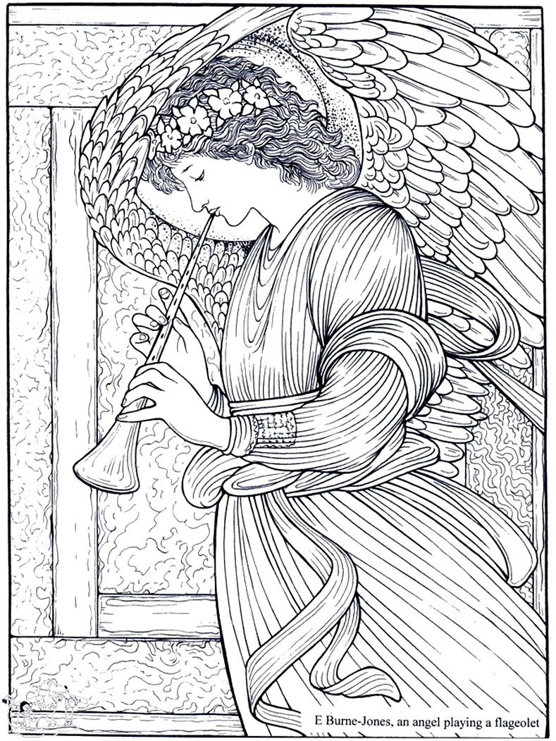 Free Coloring Page Adult Burne Jones An Angel Playing
