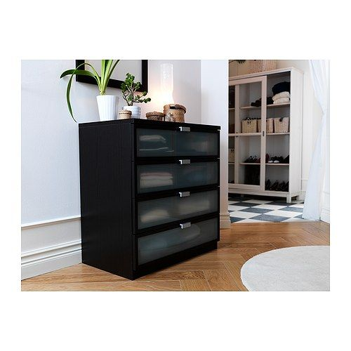 IKEA   HOPEN 4 drawer chest  black brown  frosted glass   99 00. RODD Table lamp base  nickel plated   Closet island  Smooth and