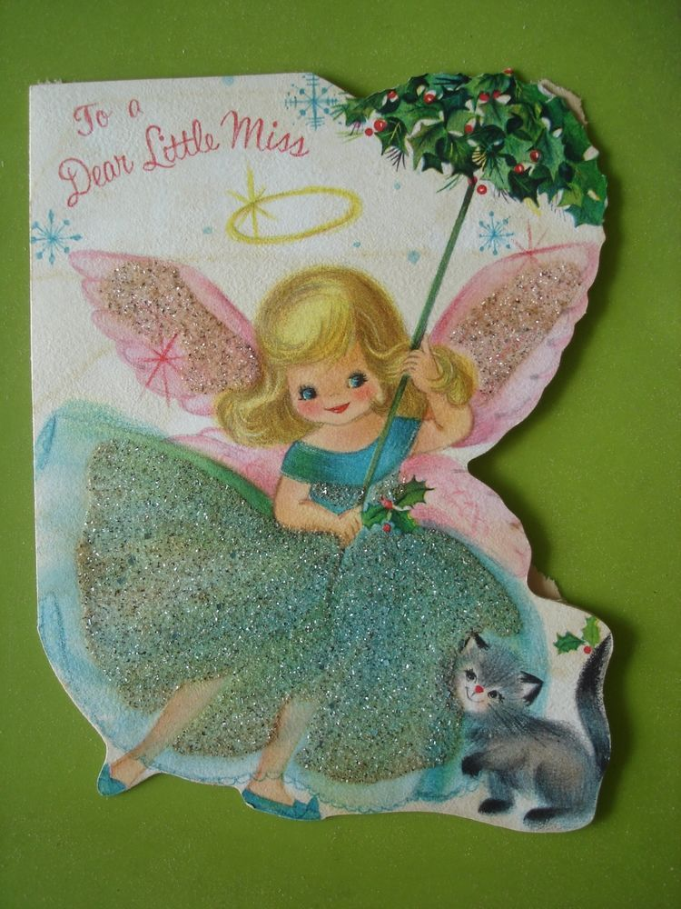 vtg hallmark christmas card beautiful angel w pink wings glitter die cut 1960