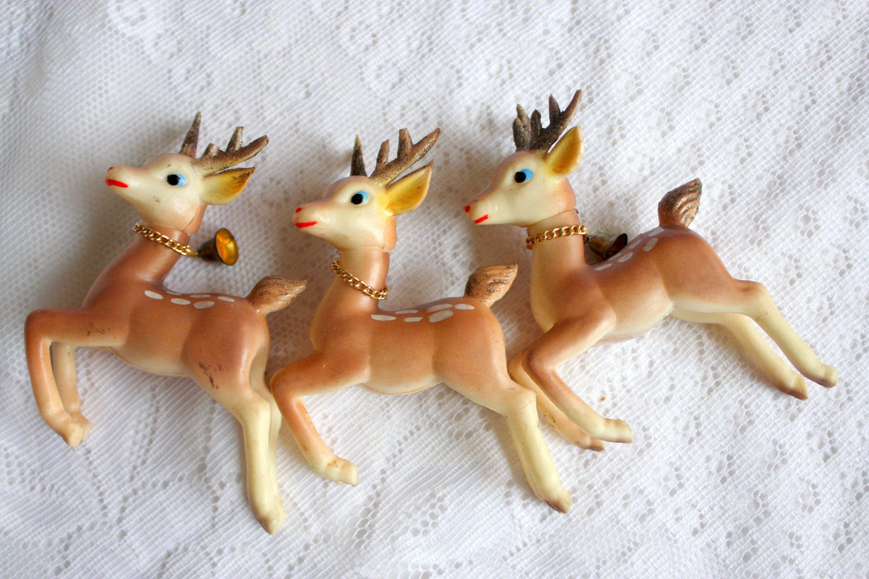 Vintage Rubber Reindeer Made in Japan Rubber Christmas Ornament