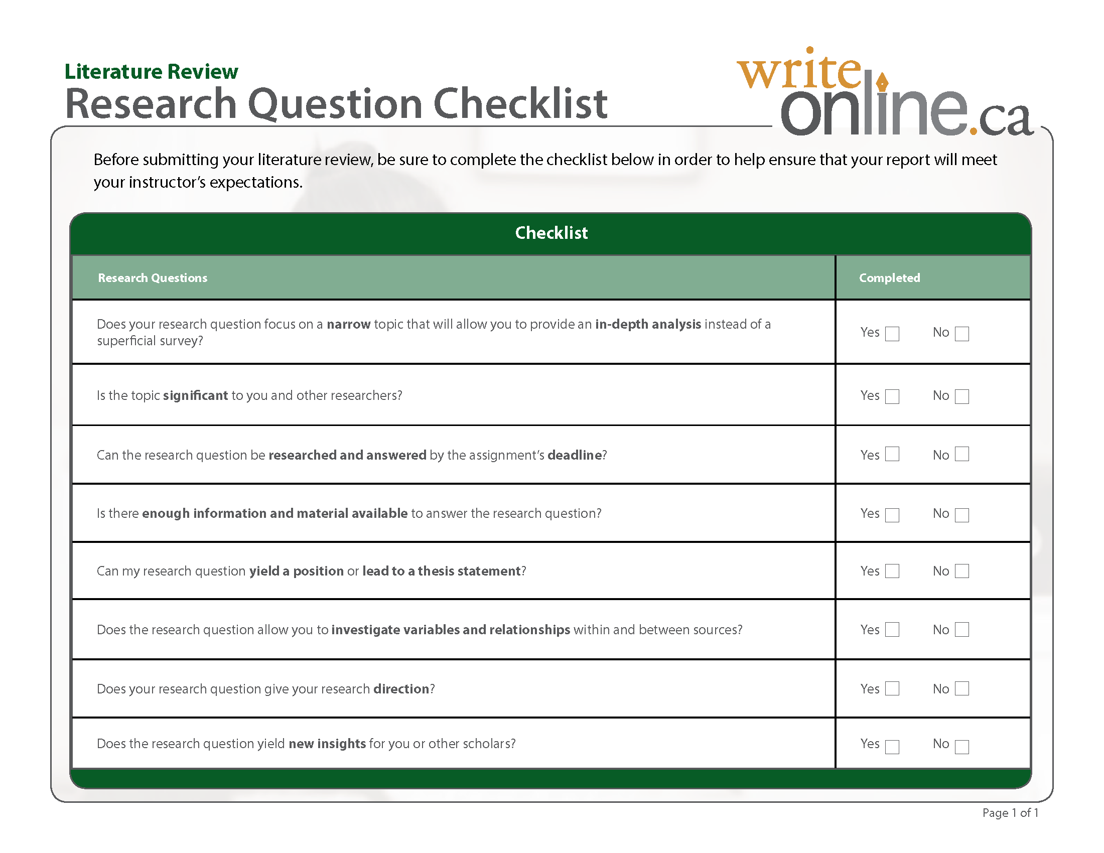 Literature Review Research Questions Checklist