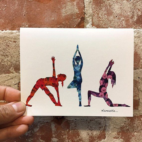 Yoga Cards Yoga Art Blank Inside Yoga Stationary Yoga Gift