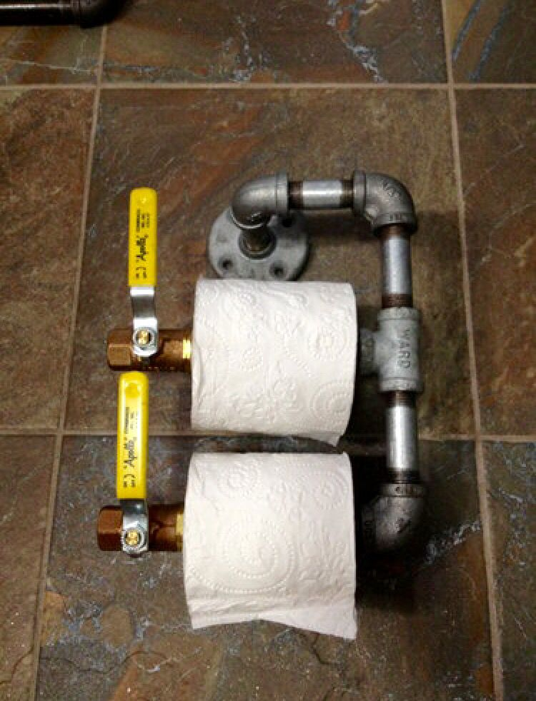 Man Cave Toilet Paper Holder : Industrial pipe style toilet paper holder