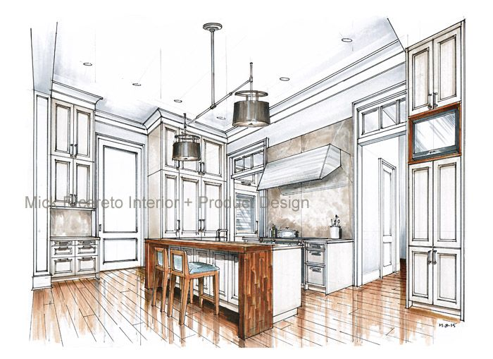 SieMatic Beaux Arts Rendering by Mick Ricereto Drawing Interior Interior Design Sketches Interior Rendering  sc 1 st  Pinterest & Recent Kitchen Renderings | i I l u s t r a t i o n s | Learn ...