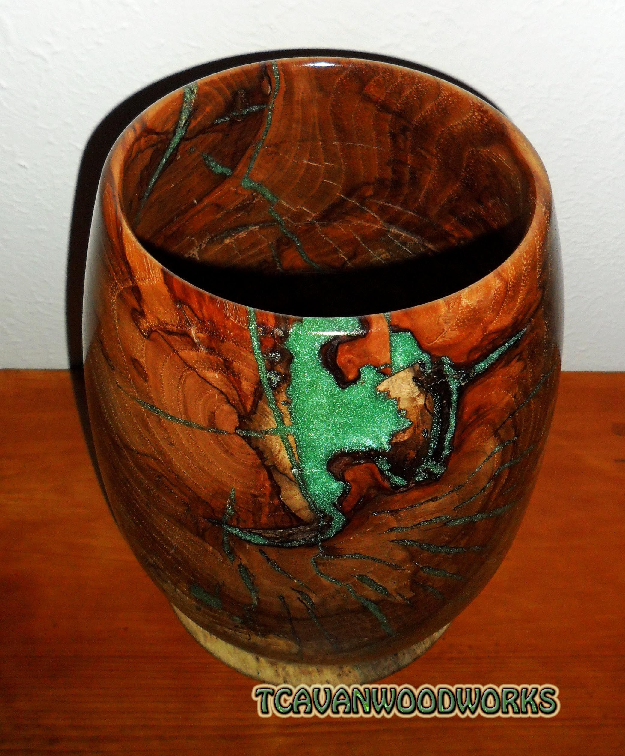 Wood Vessel Inlaid With Jade Green Resin Resin Inlaid