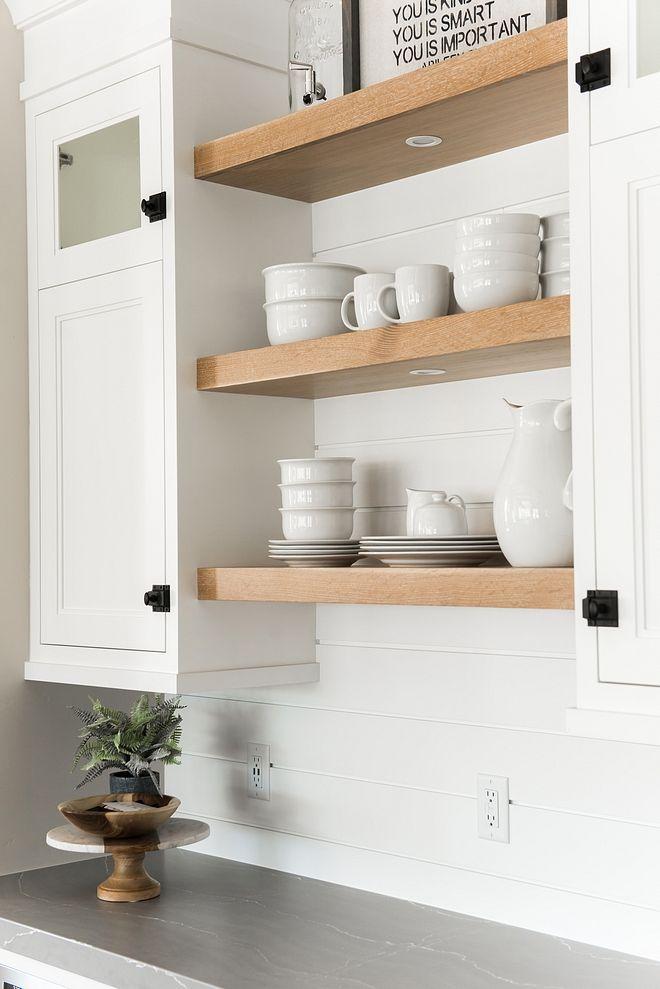 White Oak Floating Shelves And Shiplap Backsplash House
