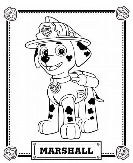 paw patrol coloring pages - Marshall Paw Patrol Coloring Page