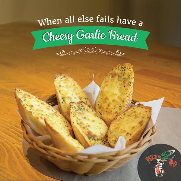 Pizza 2 Go Restaurant Dubai Social Media On Behance Restaurant Recipes Cheesy Garlic Bread Social Media