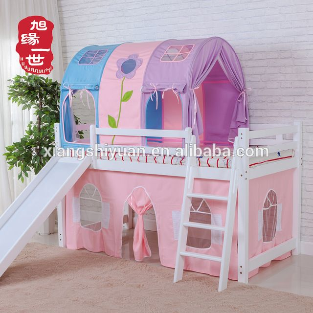 Source Kids Furniture Pink Color Princess Castle Loft Bunk Bed With