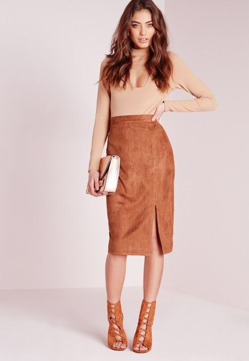 Thigh Split Faux Suede Midi Skirt Mocha Brown - Missguided DE