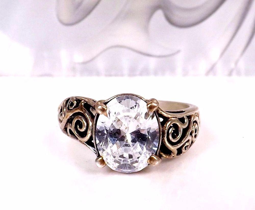 183c5617345e7 KABANA Sterling Silver 925 DQ Engagement Wedding Bridal Size 8 ...