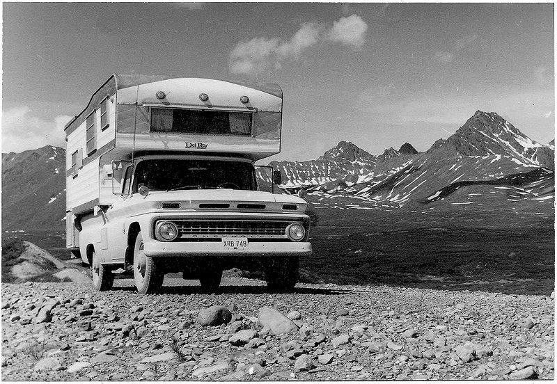 A 1963 Chevy pickup and camper on the Denali Highway