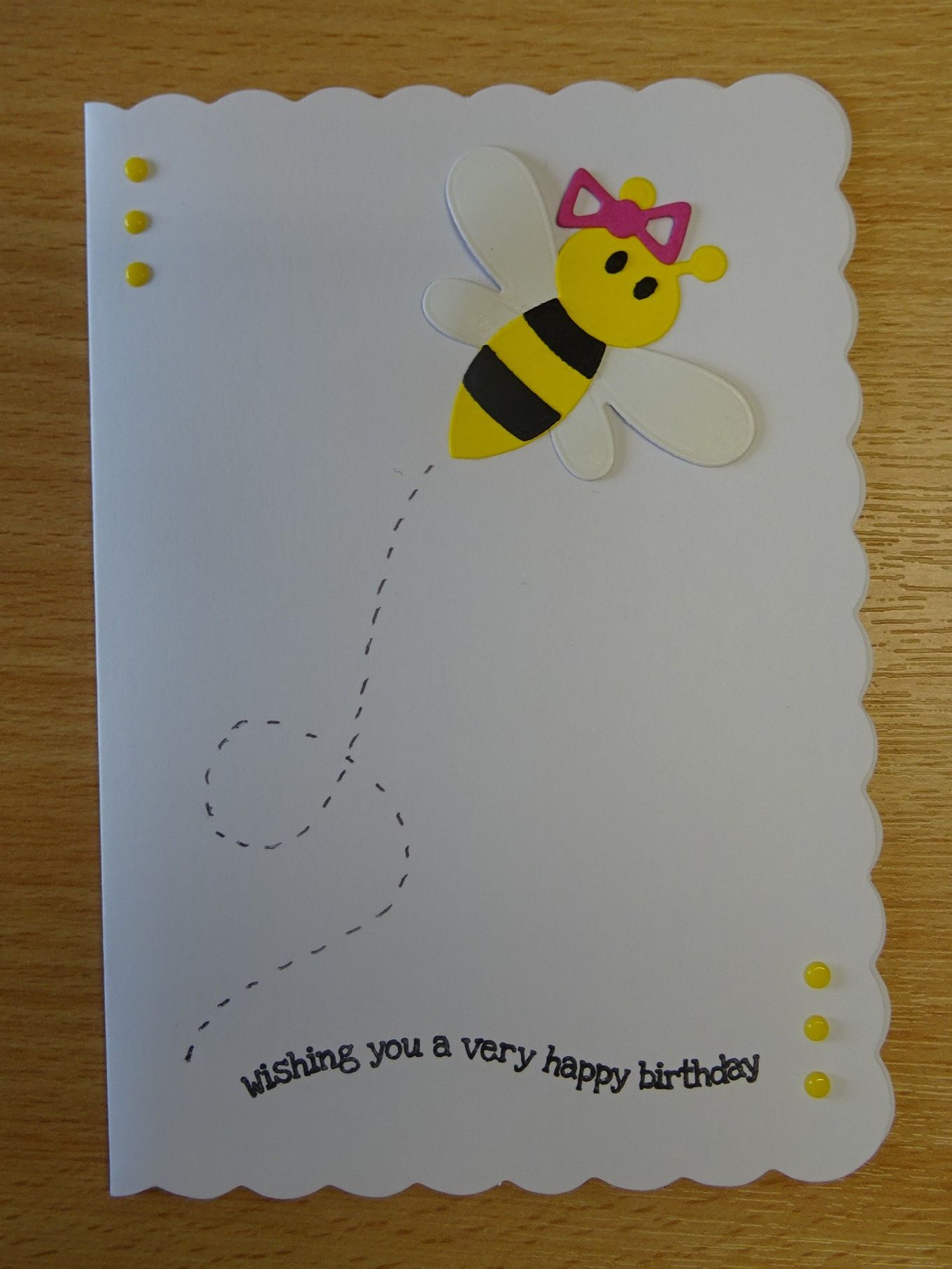 Handmade Birthday Card Marianne Collectables Bumble Bee Die For