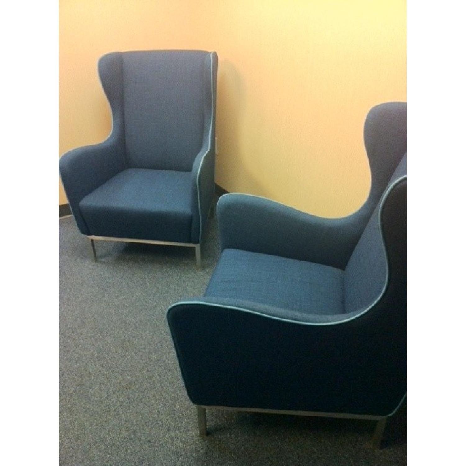 CB2 Study Wingback Chair in Pacific Blue Set of 2 1