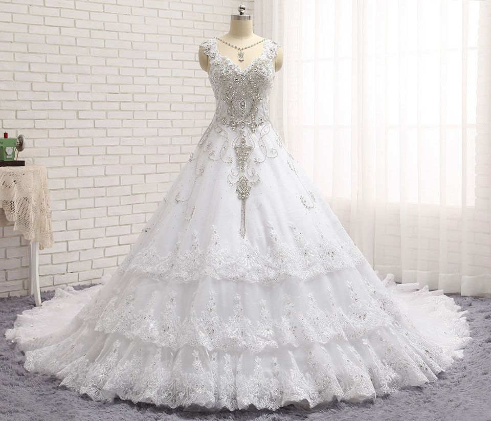 Cathedral train princess bling luxury crystals white wedding dress