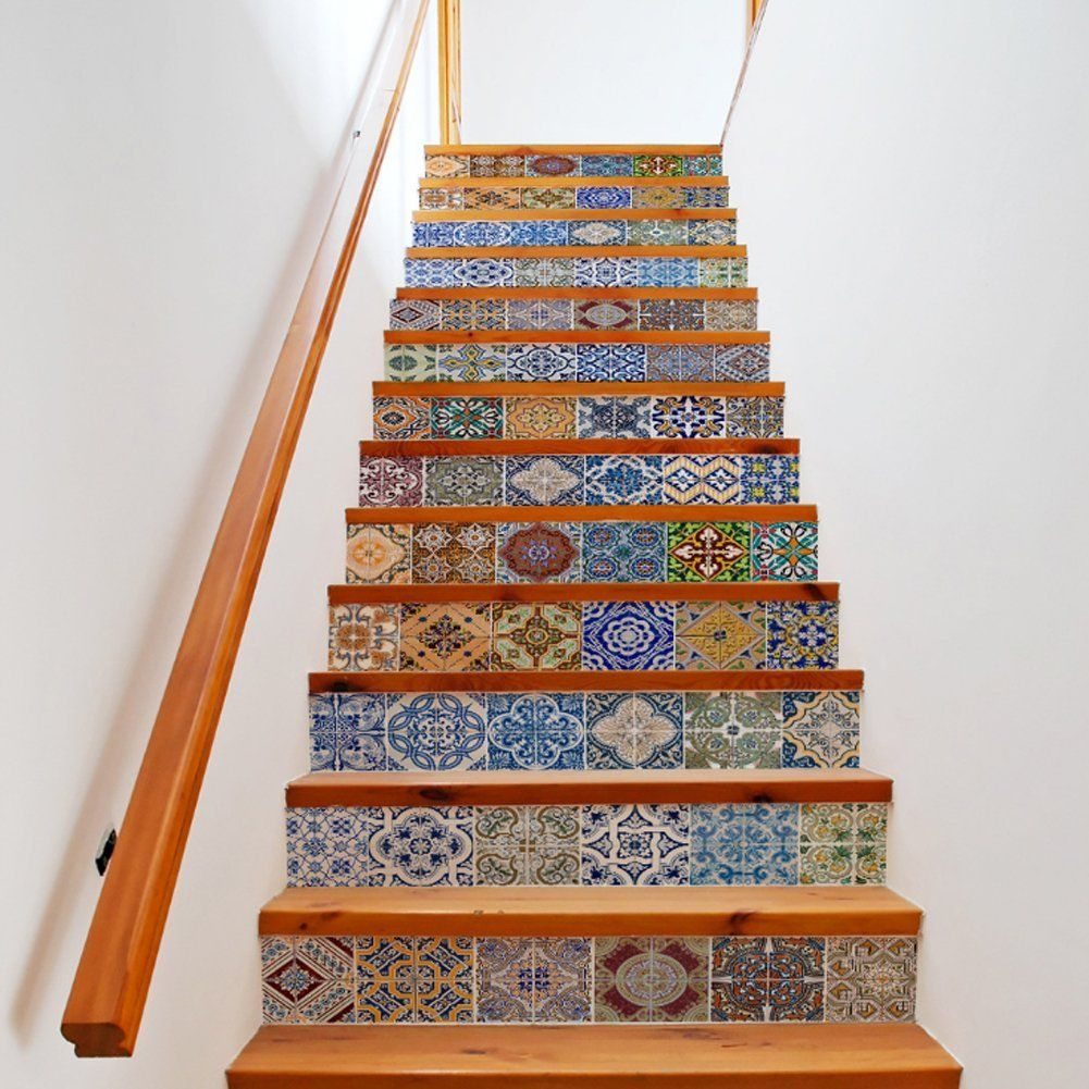 Escalier Amazon extsud set de 13 pcs sticker carrelage sticker escalier mosaïque diy