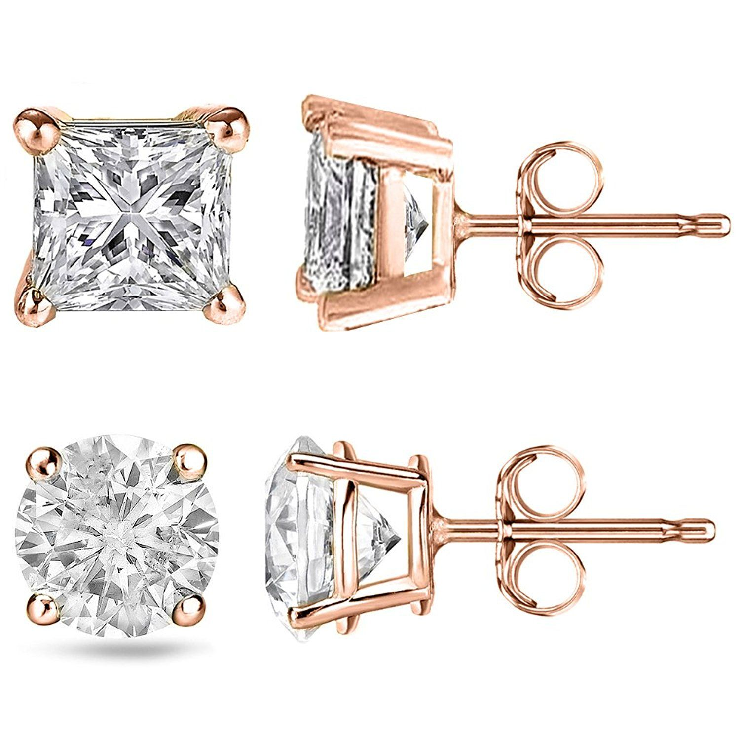 * Penny Deals * - FANTOM Round and Princess 2 Pairs of Cz Earrings 2.00 Carat Total Weight Sterling Silver Rose Overlay >>> Check this awesome product by going to the link at the image.
