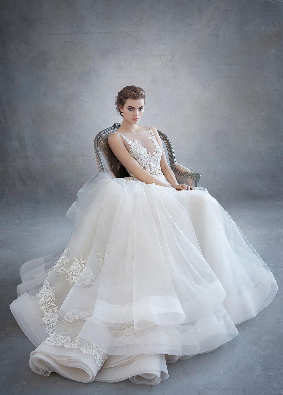 Lazaro Bridal Tulle Ball Alencon Lace Metallic Beaded
