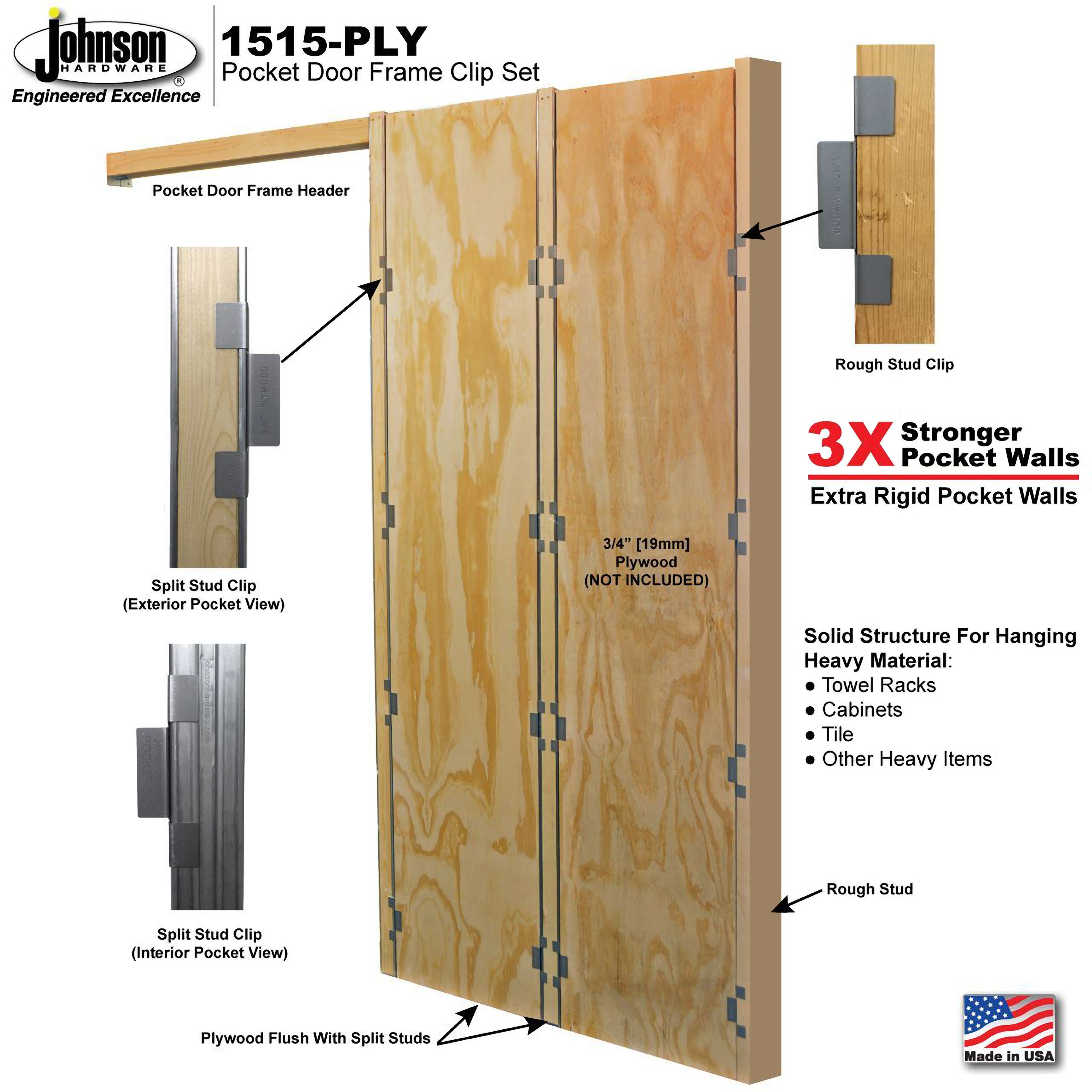 1515 PLY Pocket Door Frame Plywood Clip Set
