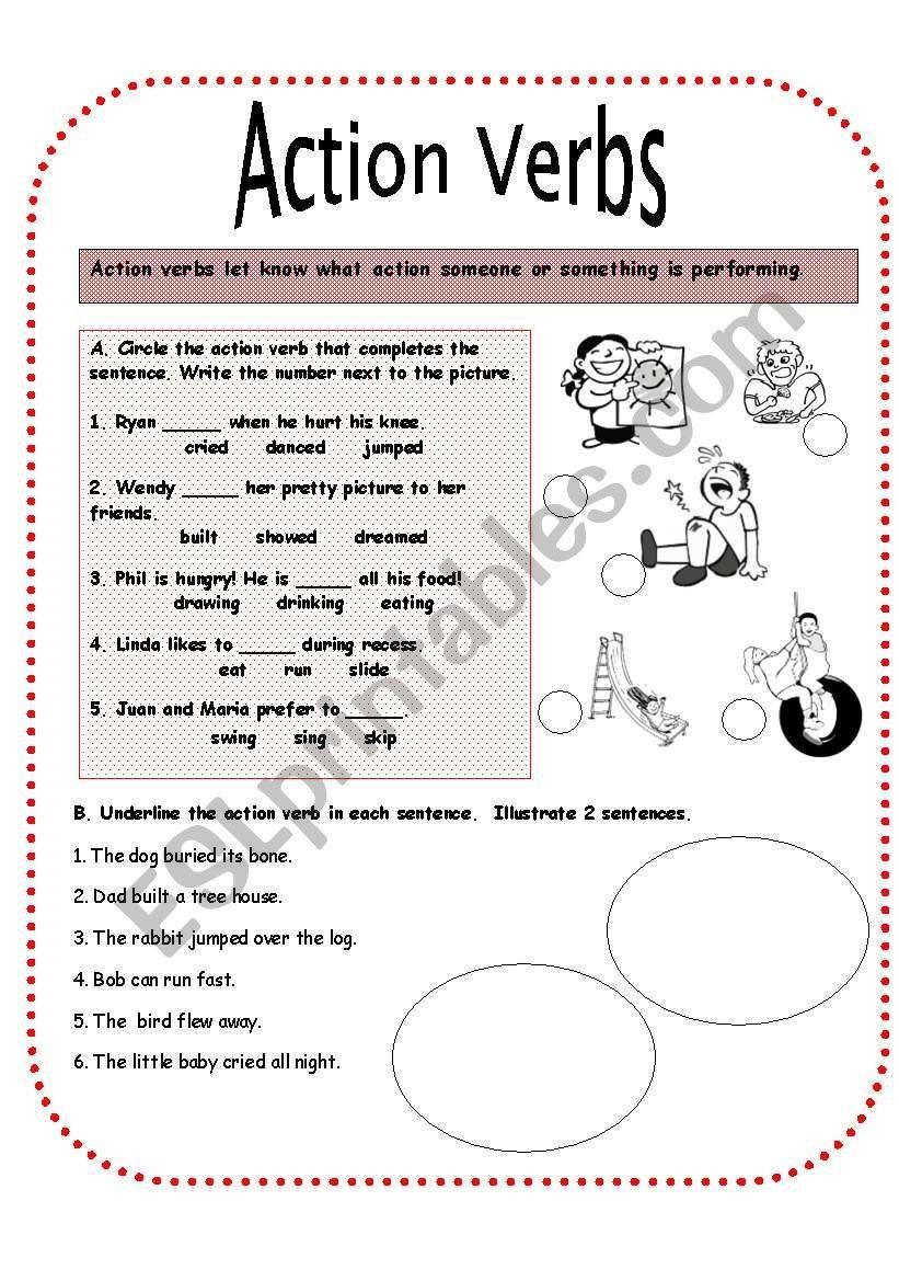 Action Verbs Worksheets For Kindergarten Action Verbs Worksheet Verb Worksheets Kindergarten Worksheets [ 1169 x 821 Pixel ]