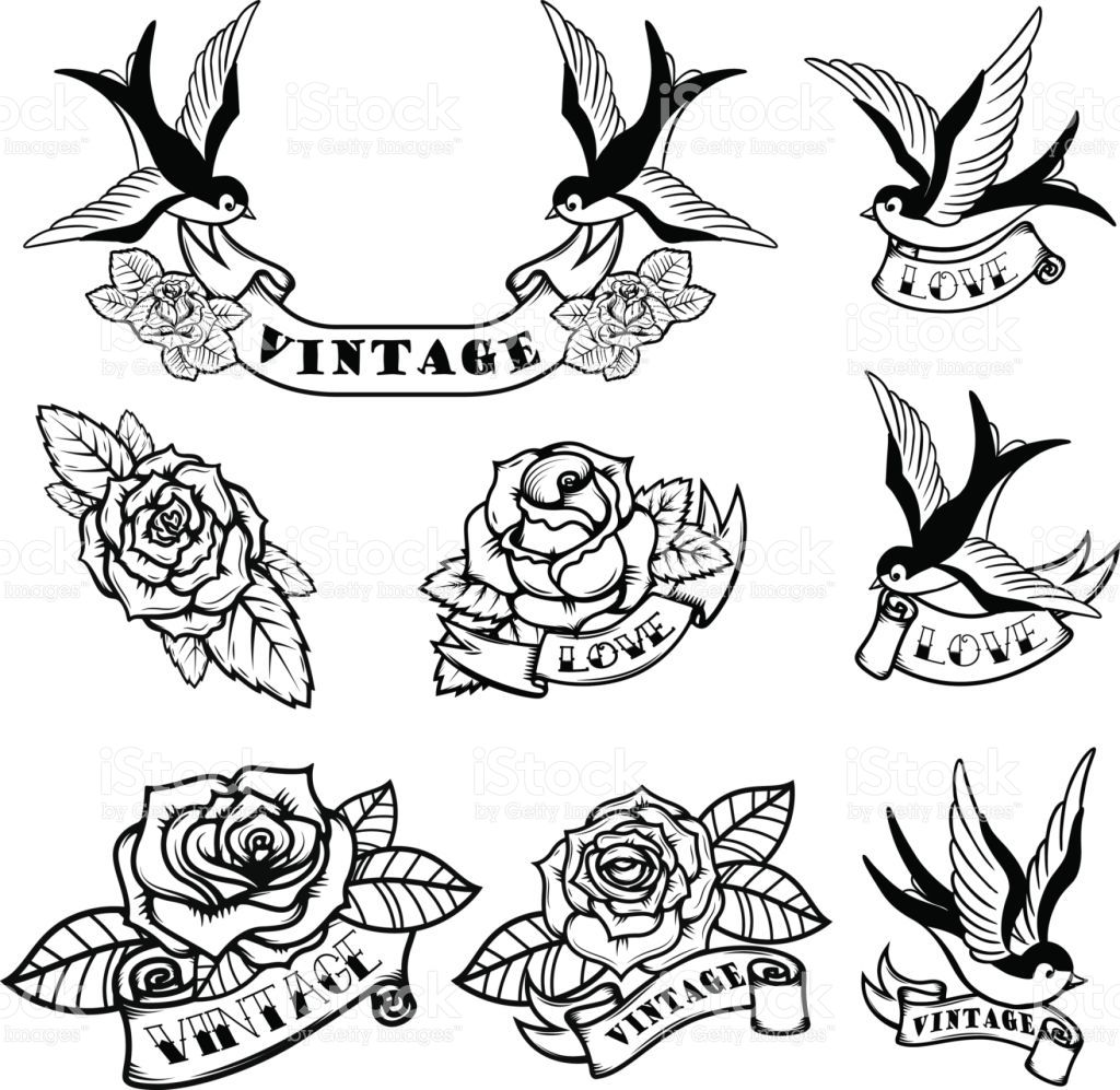 Photo of Set of tattoo templates with swallows and roses. Old school tattoo….