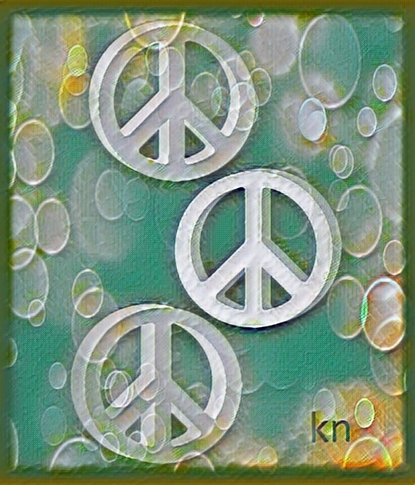 ✌Peace Sign Art cTeal & cWhite Hippie