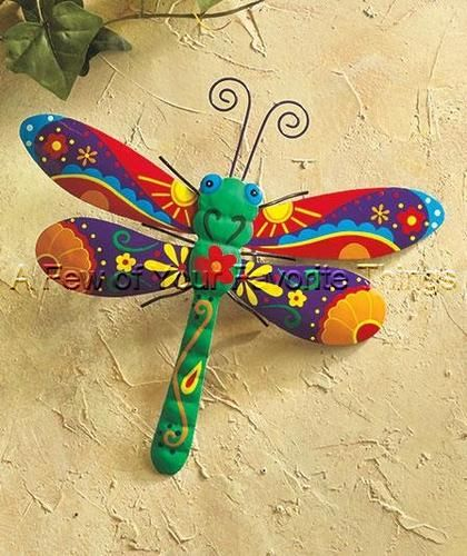 Dragonfly color garden outdoor yard metal wall art fence rock stone ...