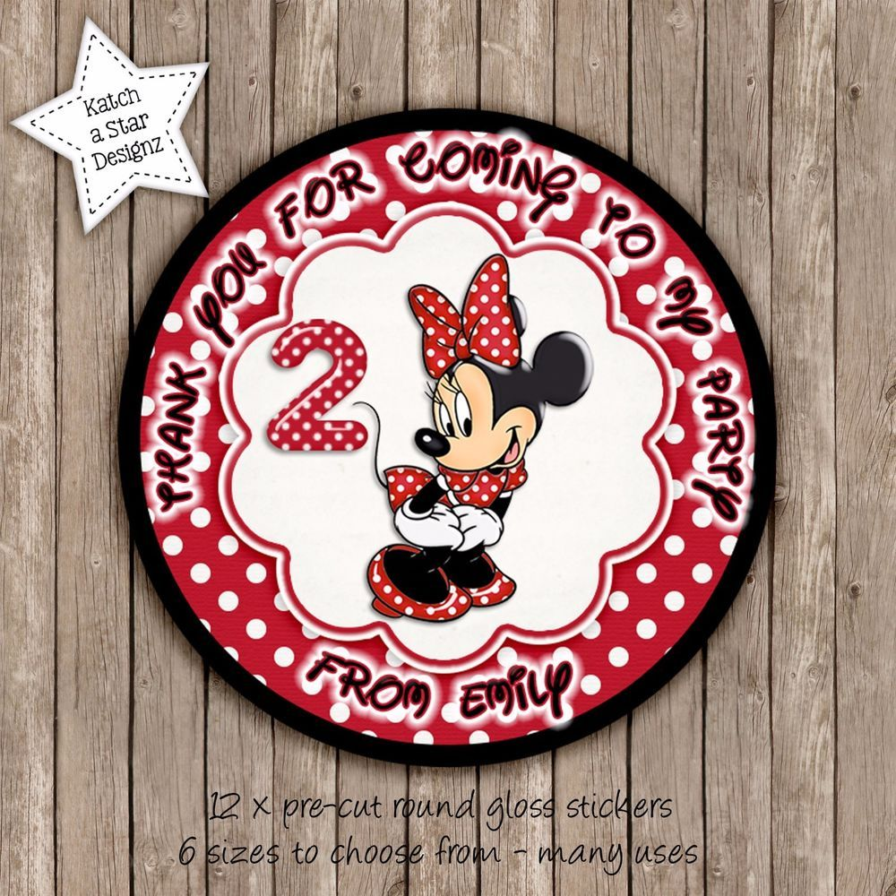 Minnie mouse red personalised round circle gloss party stickers x 12