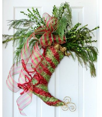 Glitter Stocking Door Decoration filled with fresh greenery and deco mesh ribbon bow