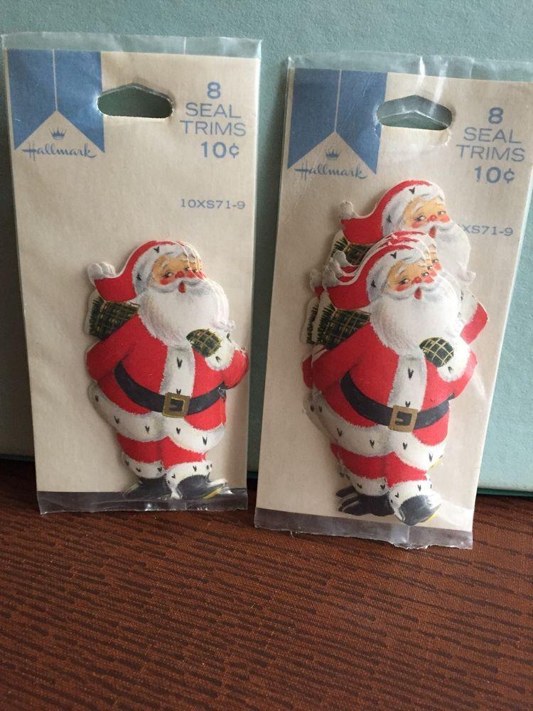 (16) Vintage Santa Christmas Seal Trims  And Gift Tags New #Hallmark