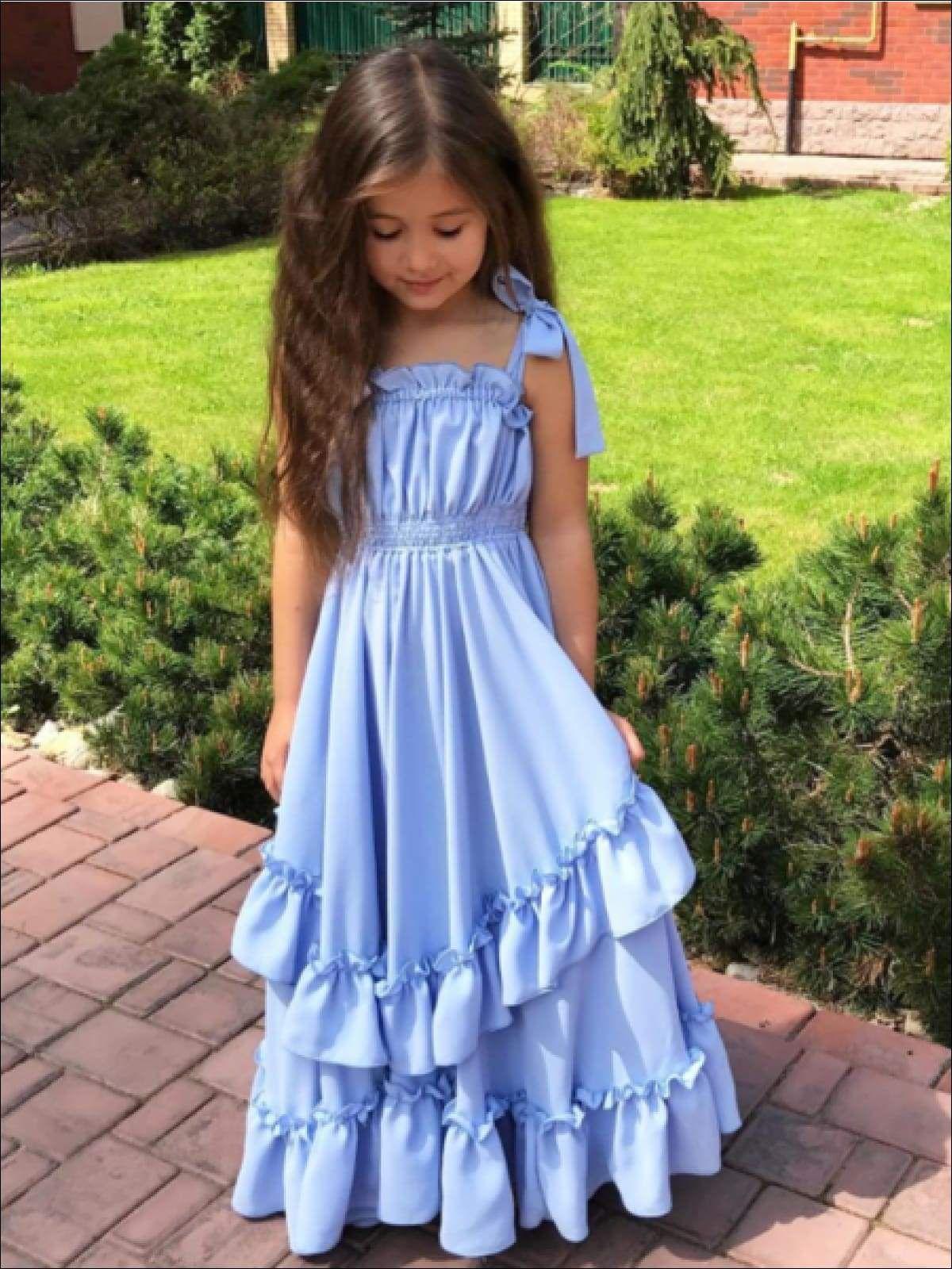 Girls Long Blue Ruffled Maxi Dress Toddler Maxi Dresses Girls Dresses Summer Princess Dress Kids [ 1600 x 1200 Pixel ]