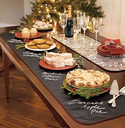 chalk fabric table runner great for labeling buffet foods especially great for allergy sensitive guests