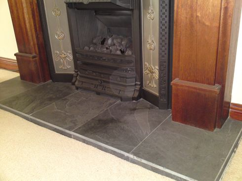 Ribble Valley Slate Fireplace Hearth, Charcoal Slate Fireplace Hearth Tile