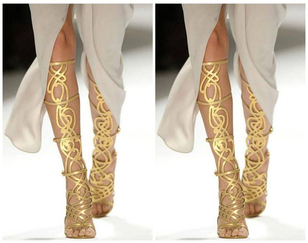 Breckelles Diva-36 Strappy Knee High Stiletto Heel