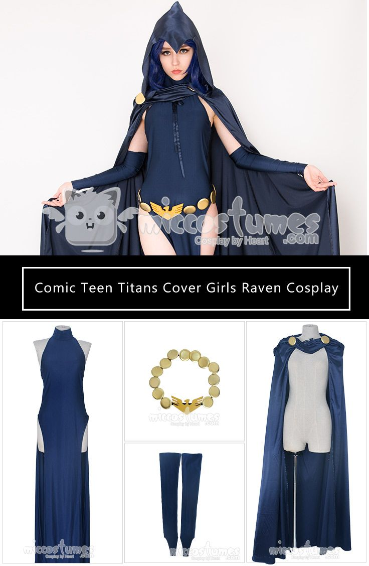 Super Heroine Cover Girls Raven Cosplay Costume Full Set Halloween
