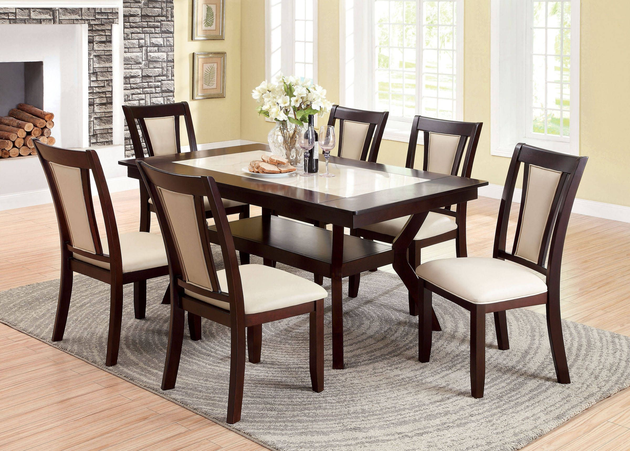 Brent Dark Cherry Ivory Faux Marble Insert Solid Wood Dining Table