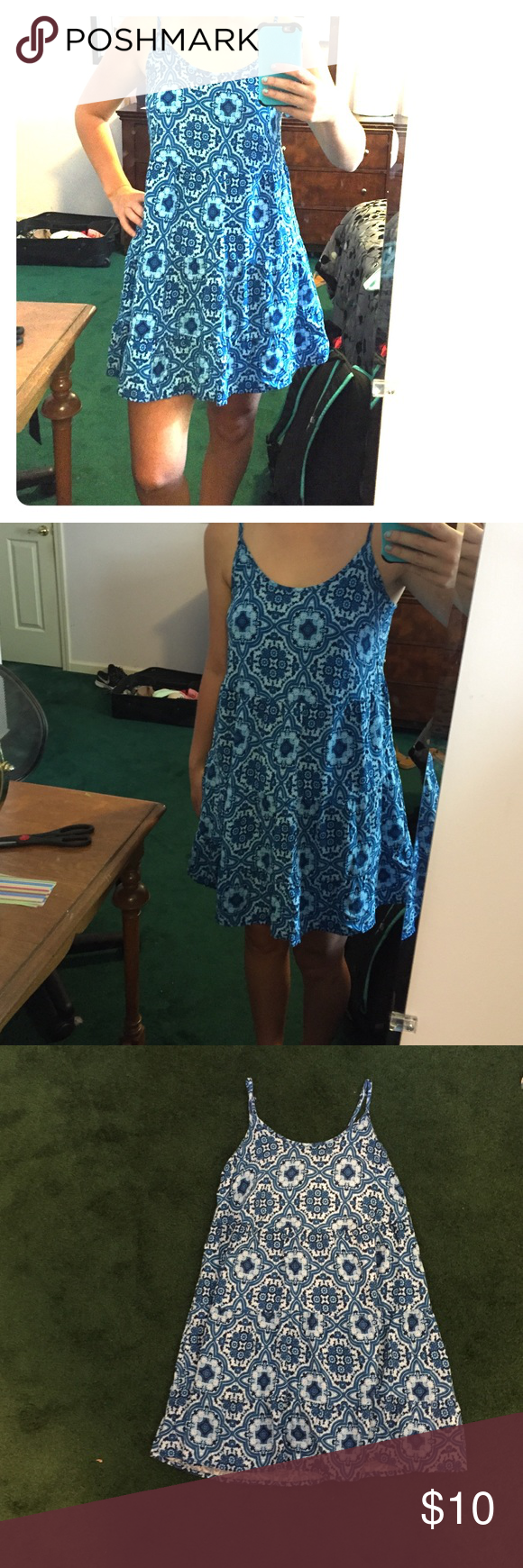 Blue patterned festival dress So cute!!! Worn one time. 🎁will accept best offer🎁 J. Crew Dresses