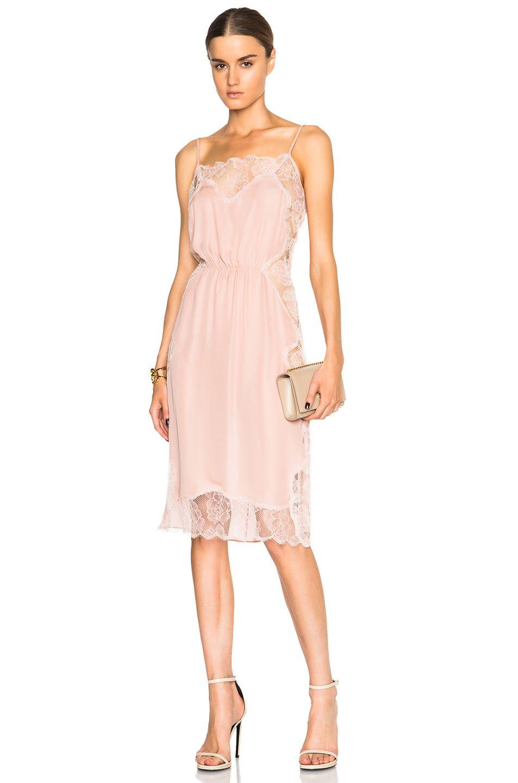 Image 1 of fleur du mal Rose Lace Applique Slip Dress in Dusty Rose ...