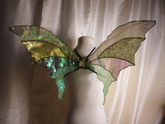 OOAK Unique Green Iridescent Fairy Wings Woodland Fairy Costume fjmKaAboo