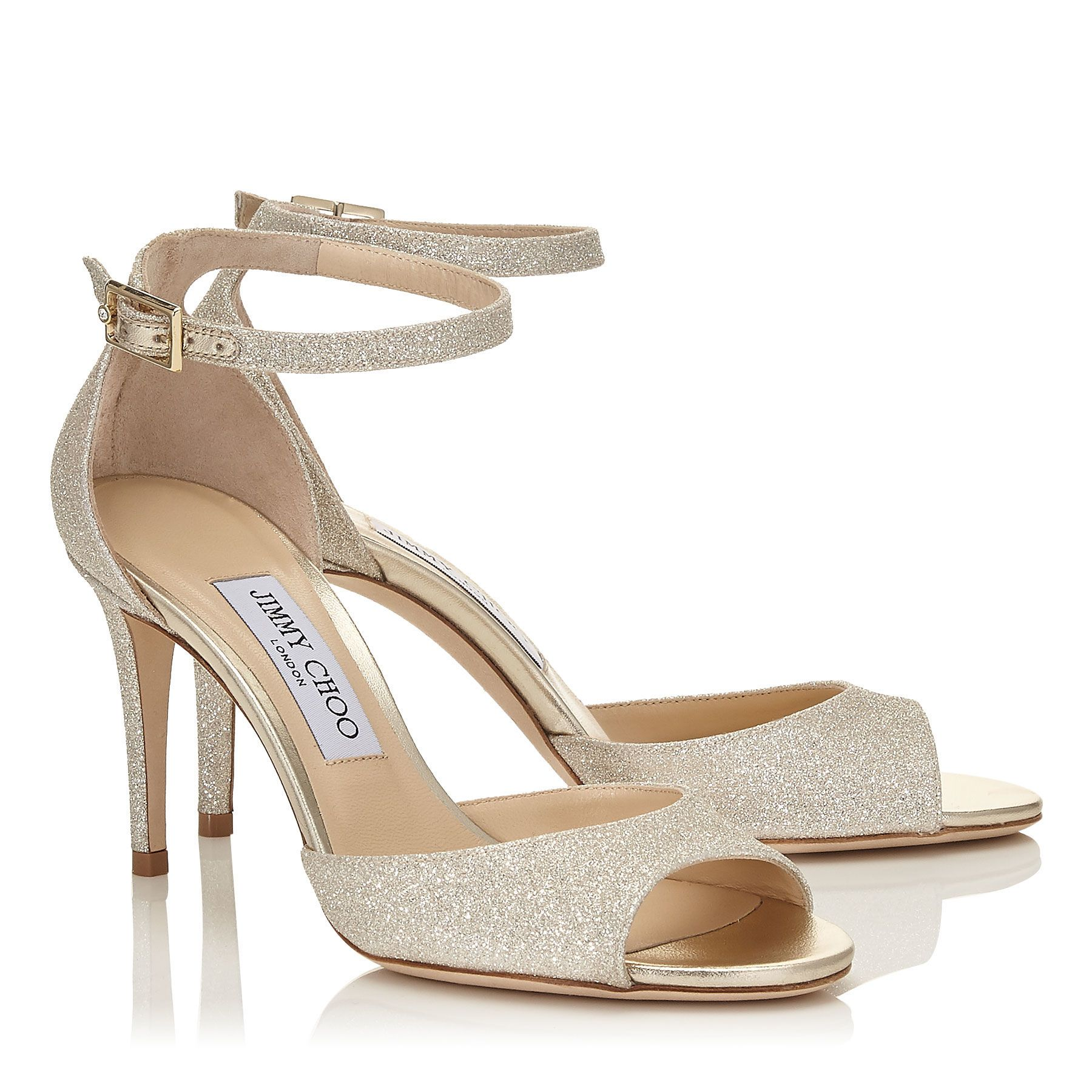 7a56cce439b Platinum Ice Dusty Glitter Peep Toe Sandals
