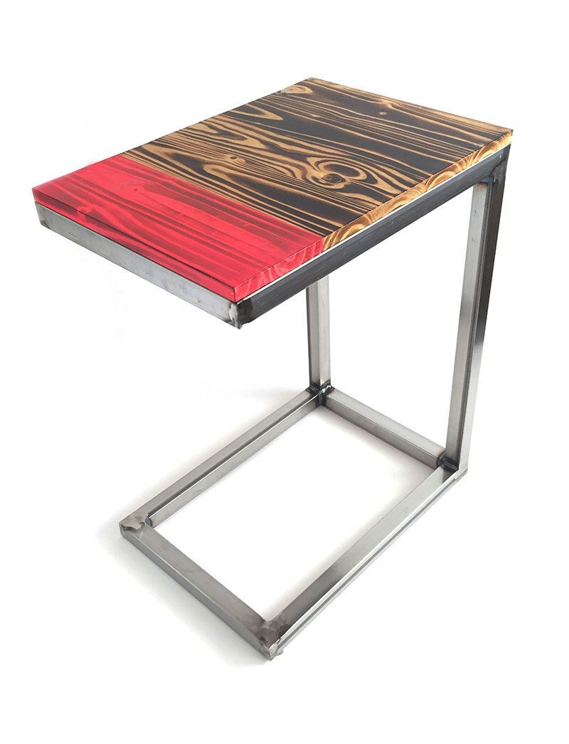Wood and Steel C Table Modern Rustic Side Table Handmade Torched