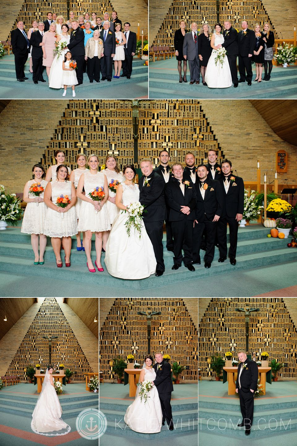 Family Formals at Little Flower Catholic Church in South Bend after a wedding ceremony