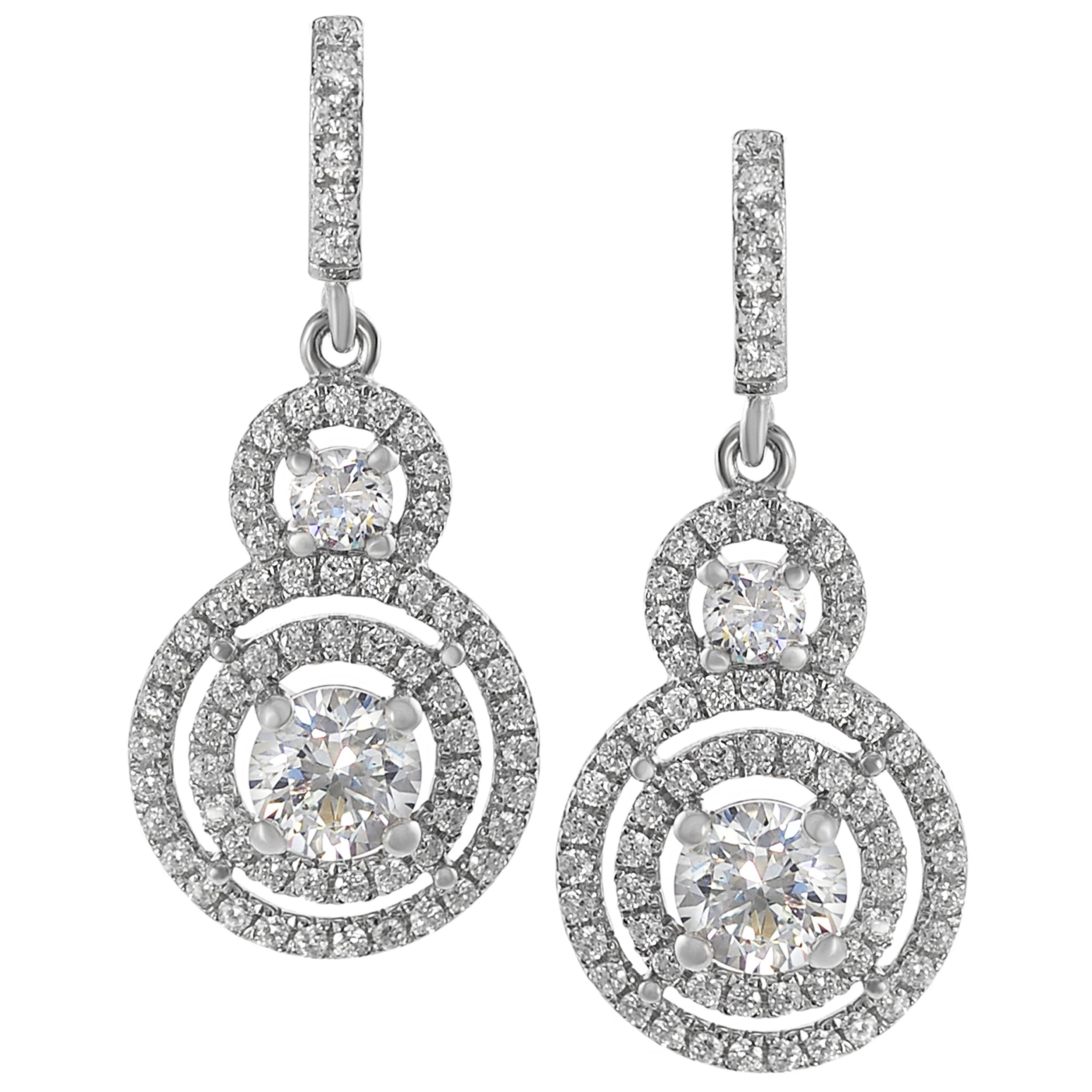 Journee Sterling Silver CZ Mini Chandelier Drop Earrings Tressa