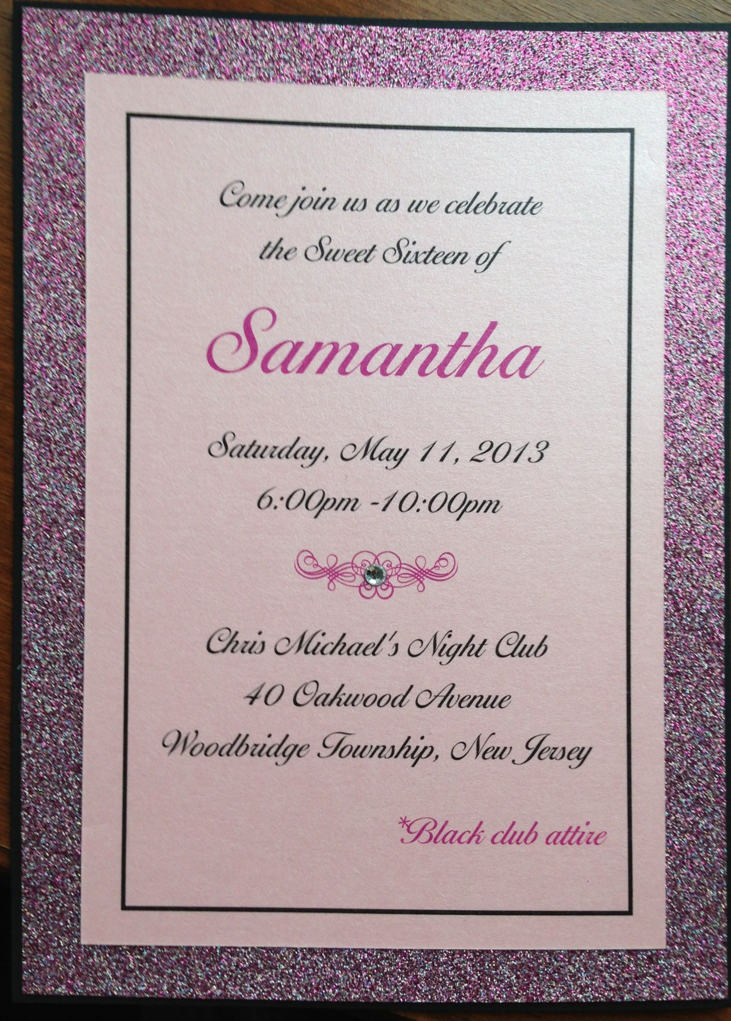 5x7 3 Layer Invitation With A Thick Glitter Cardstock Border Is A