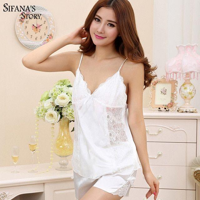 Ladies Sexy Silk Satin Pajama Set Lace Pyjama Set Sleeveless Pijama Set  V-neck Sleepwear Summer Night Wear Sleep Wear For Women Review 13814d7b3