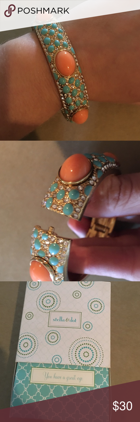 Stella & Dot Sunset Bangle Beautiful Stella & Dot Sunset gold angle with diamond, turquoise & coral details. Comfortable and like new. Includes the original packaging. Pairs great with my listing for Paige Bracelet. Stella & Dot Jewelry Bracelets
