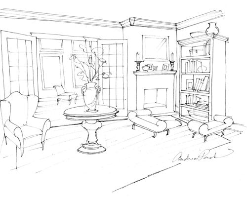 Living Room Drawing sketch a room | carpetcleaningvirginia