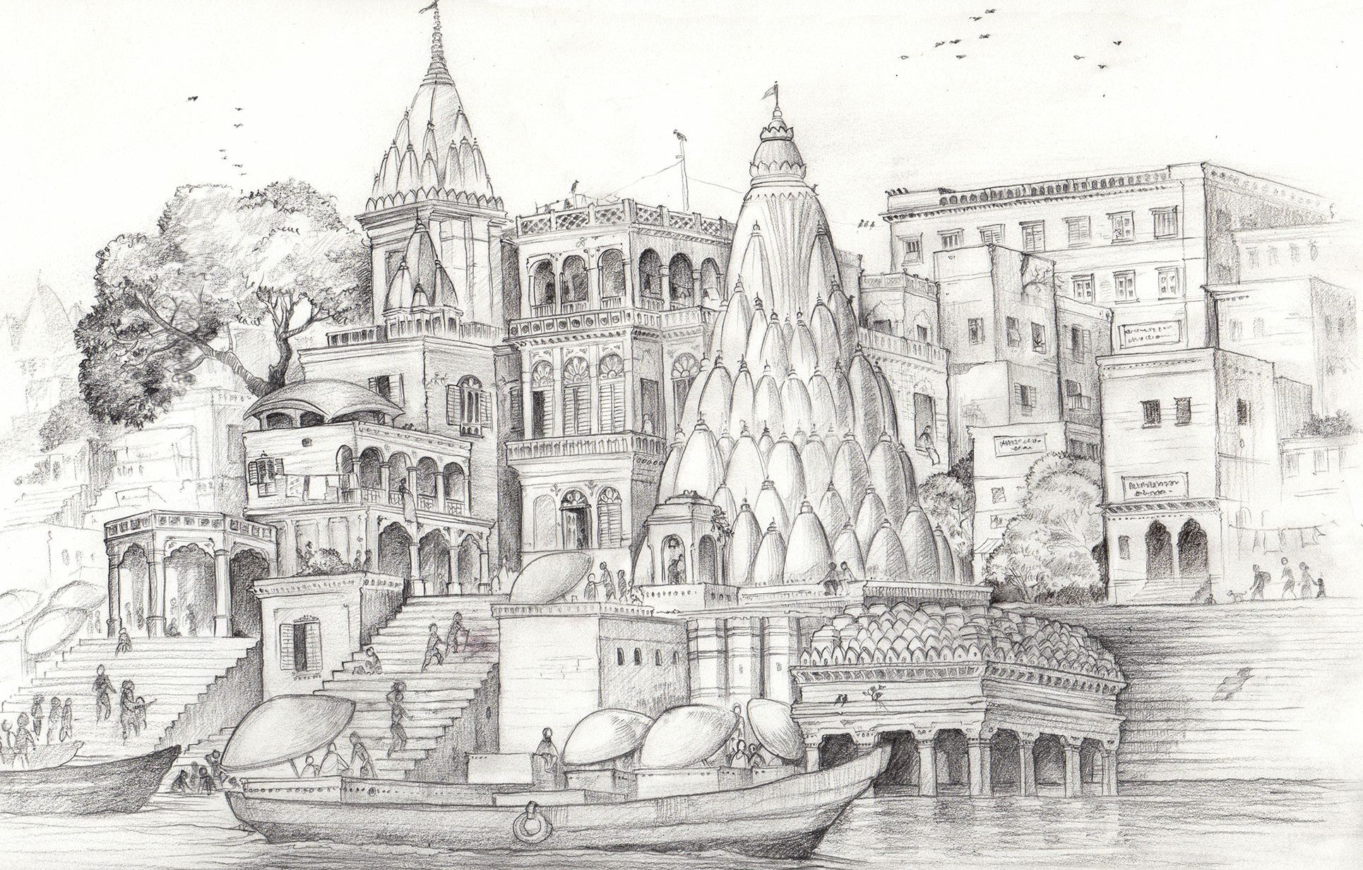Varanasi ghaats banks of the ganges a pencil sketch