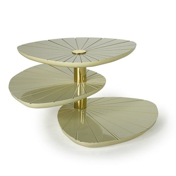 Gabriella Crespi Rotating Tiered Table, Rotating tiered occasional table, Italy, 1970s